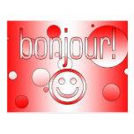 Regalos canadienses franceses hola Bonjour + Cara Postal