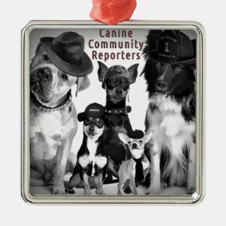 Regalos caninos del reportero ornamentos de reyes