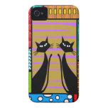 Regalos caprichosos del arte del gato iPhone 4 Case-Mate cárcasa