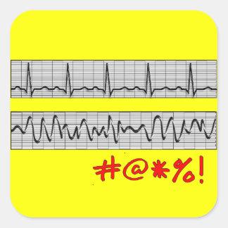 Regalos cardiacos divertidos de la tira del ritmo calcomanias cuadradas