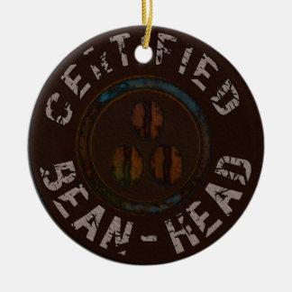 Regalos certificados de la Haba-Cabeza Ornamento Para Arbol De Navidad