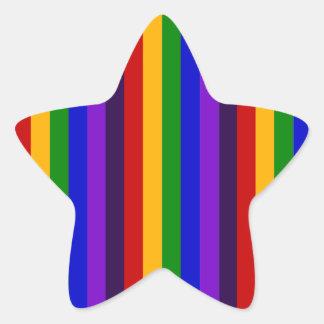 Regalos coloridos clásicos de las rayas verticales pegatina en forma de estrella