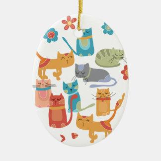 Regalos coloridos de la impresión de los gatos del adorno de navidad