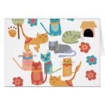 Regalos coloridos de la impresión de los gatos del felicitaciones