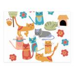 Regalos coloridos de la impresión de los gatos del tarjeta postal