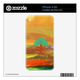 Regalos coloridos de la pintura de paisaje iPhone 4 skins