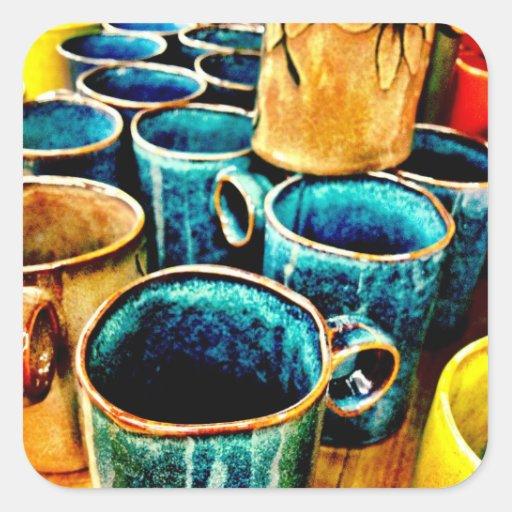 Regalos coloridos de las tazas de café para los pegatina cuadrada
