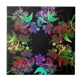 Regalos coloridos del arte del fractal del diseño  azulejo cuadrado pequeño