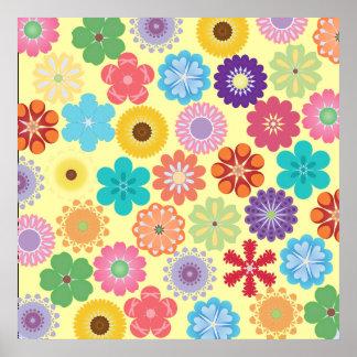 Regalos coloridos del estampado de flores del póster