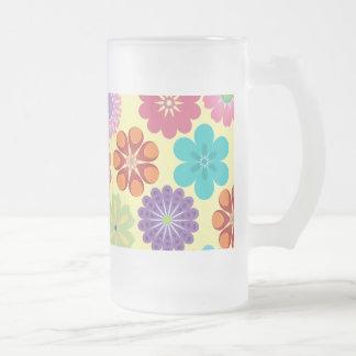 Regalos coloridos del estampado de flores del taza de cristal