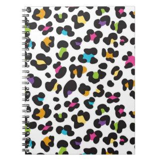 Regalos coloridos del estampado leopardo del guepa libretas espirales