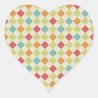 Regalos coloridos del modelo de Argyle del Pegatina En Forma De Corazón