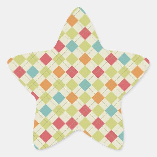 Regalos coloridos del modelo de Argyle del Pegatina En Forma De Estrella
