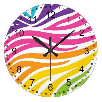 Regalos coloridos del modelo del estampado de zebr relojes
