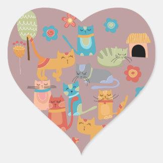Regalos coloridos lindos de los gatos del gatito p calcomanía de corazón personalizadas
