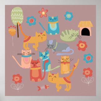 Regalos coloridos lindos de los gatos del gatito p póster