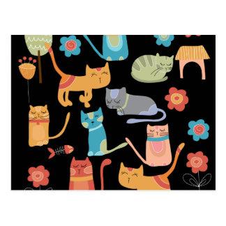 Regalos coloridos lindos de los gatos del gatito postal