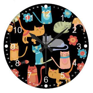 Regalos coloridos lindos de los gatos del gatito reloj redondo grande