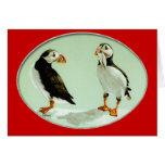 Regalos cómicos del arte del pájaro del frailecill tarjeton