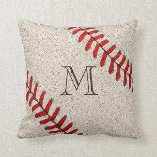 Regalos cones monograma únicos del béisbol para el almohada