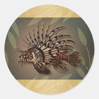 Regalos coralinos de la pesca de los pescados del pegatina redonda