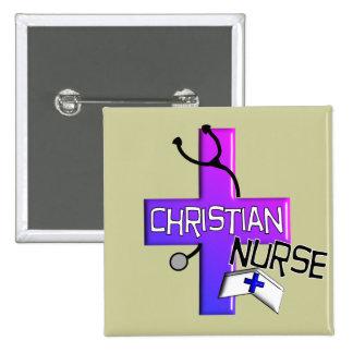Regalos cristianos de la enfermera pin cuadrado