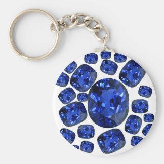 Regalos de Birthstone de las gemas del zafiro por Llavero Redondo Tipo Pin