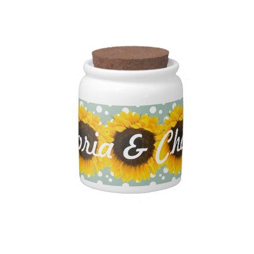 Regalos de boda del girasol jarra para caramelo