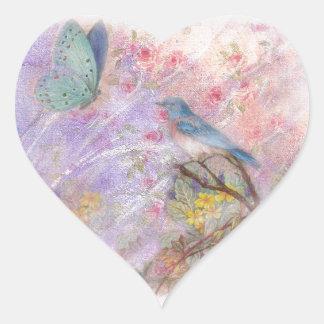 regalos de boda ilustrados de la primavera del pegatina en forma de corazón