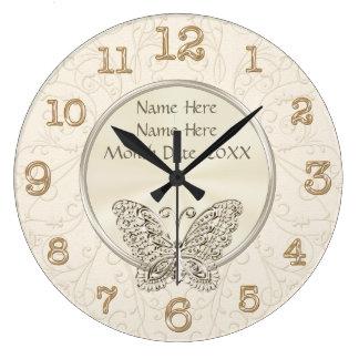 Regalos de boda temáticos de la mariposa reloj redondo grande