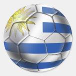Regalos de Charruas de la bandera del futbol del Pegatinas Redondas