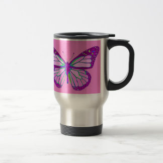 Regalos de color de malva púrpuras de la mariposa taza térmica