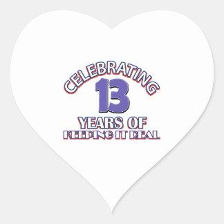 regalos de cumpleaños de 13 años pegatina en forma de corazón