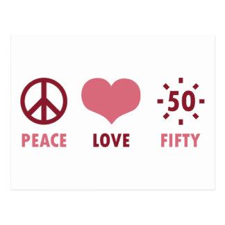 Regalos de cumpleaños del amor de la paz 50.os tarjeta postal