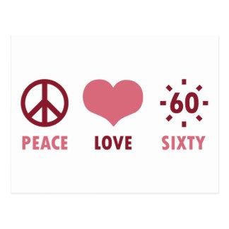 Regalos de cumpleaños del amor de la paz 60.os postal