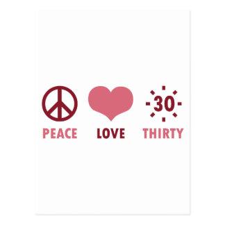 Regalos de cumpleaños del amor de la paz trigésimo tarjetas postales