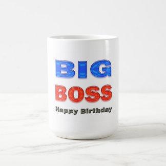 Regalos de cumpleaños del gran jefe del feliz cump taza básica blanca