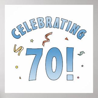 Regalos de cumpleaños festivos de la diversión 70. póster