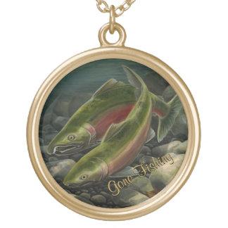 Regalos de encargo del arte de los salmones de collar dorado