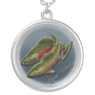 Regalos de encargo del arte de los salmones de collar plateado