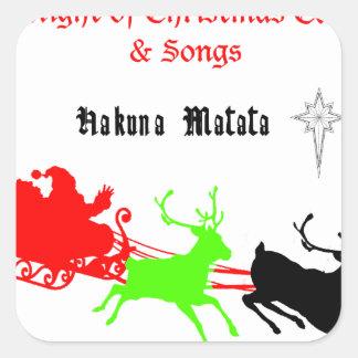 Regalos de Hakuna Matata Santa con el villancico Pegatina Cuadrada