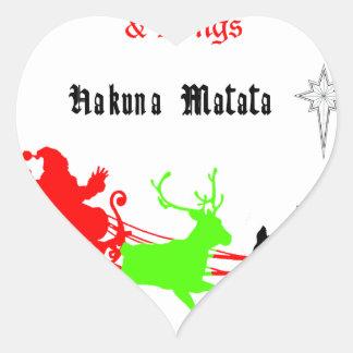 Regalos de Hakuna Matata Santa con el villancico Pegatina En Forma De Corazón