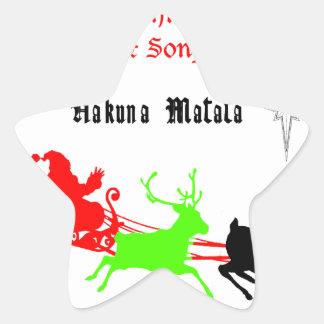 Regalos de Hakuna Matata Santa con el villancico Pegatina En Forma De Estrella