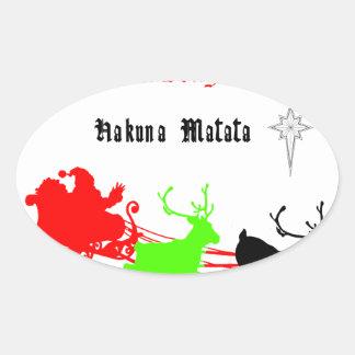 Regalos de Hakuna Matata Santa con el villancico Pegatina Ovalada