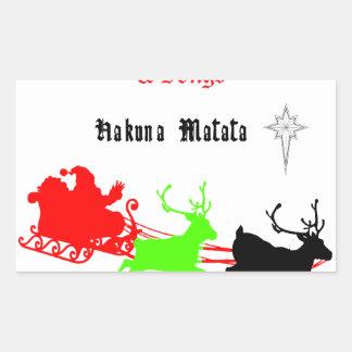 Regalos de Hakuna Matata Santa con el villancico Pegatina Rectangular