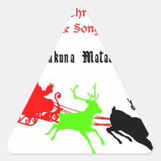 Regalos de Hakuna Matata Santa con el villancico Pegatina Triangular