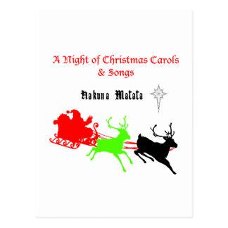 Regalos de Hakuna Matata Santa con el villancico Tarjetas Postales
