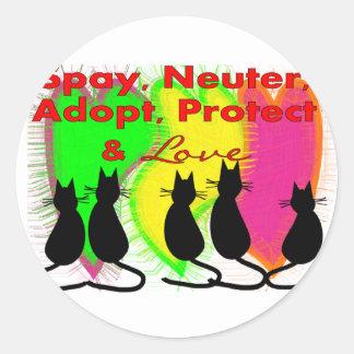Regalos de la adopción del animal y del mascota pegatina redonda