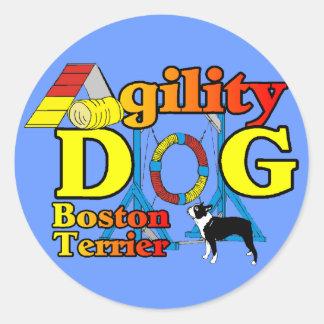 Regalos de la agilidad de Boston Terrier Pegatina Redonda
