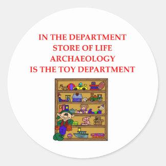 Regalos de la arqueología pegatinas redondas